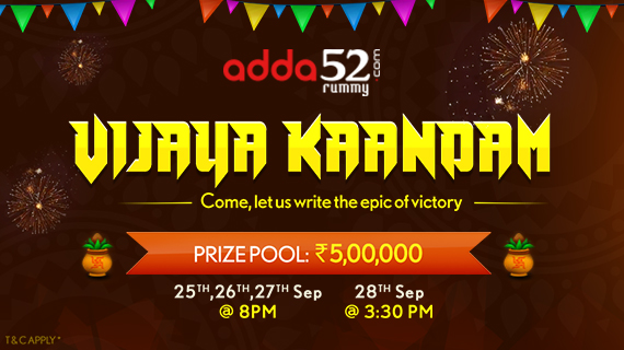 Win Upto 5 Lacs in Vijaya Kaandam Rummy Tourney at Adda52Rummy