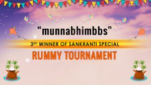 """munnabhimbbs""- 3rd winner of Sankranti Rummy Tournament"