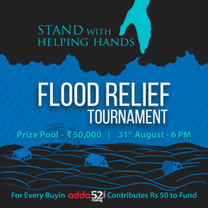 Rummy Players have a new way to Contribute for Flood Relief