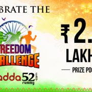 Celebrate the Freedom Challenge at Adda52 Rummy, win 2.5Lacs