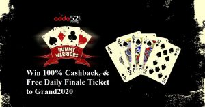 Play Rummy Warriors & Win 100% Cashback, Ticket for Grand2020