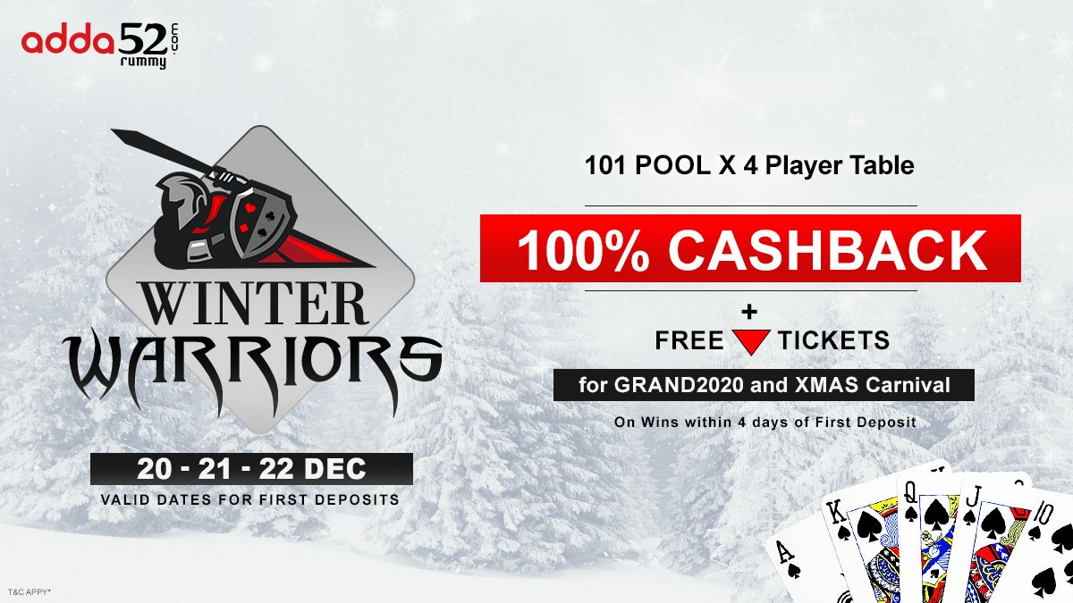 Play 101 Pool Rummy in Winter Warriors and Win 100% Cashback